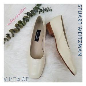 Stuart Weitzman Vintage Leather Flats, Cream, 8